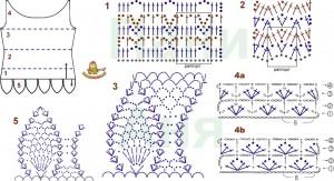 Ажурные топики крючком схемы