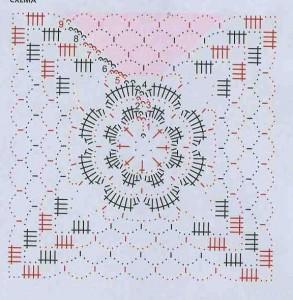 Ажурное вязанное платье - схема
