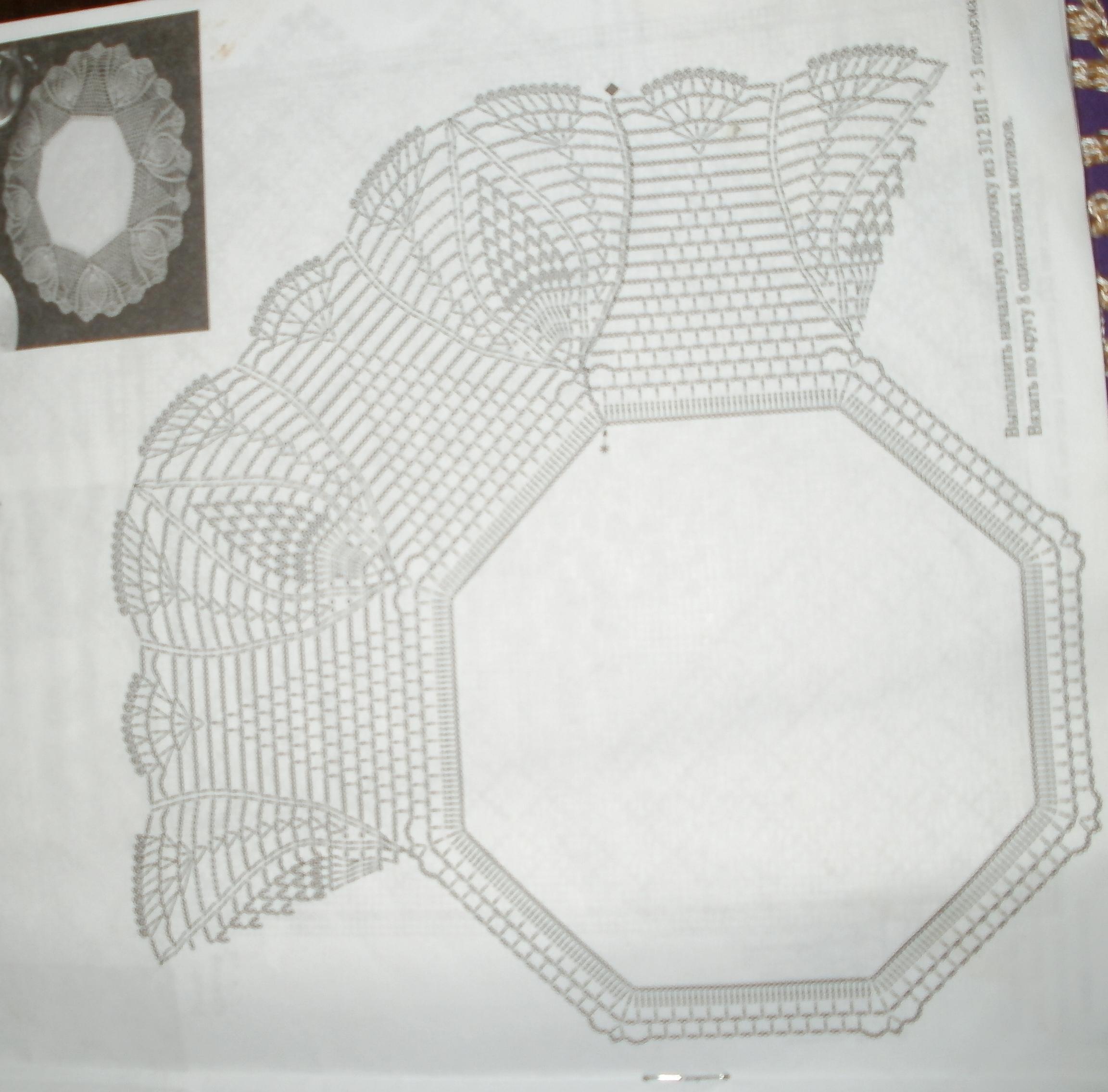 Круглая салфетка обвязанная крючком схема